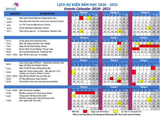 Lịch sự kiện năm học 2020 - 2021
